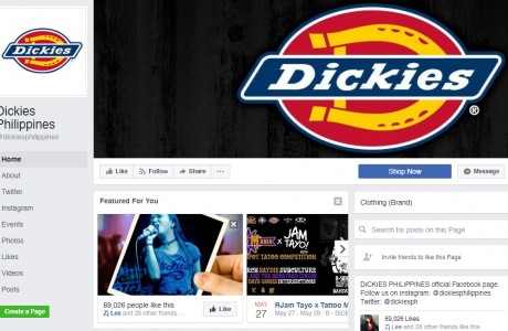 R.E.C. manages the official Facebook page, Twitter, and Instagram accounts of Dickies Philippines. In 2016, R.E.C started managing these Social Media Channels with 70,000 Facebook likes, 400 Twitter followes, and 3,800 Instagram followers. Included in the service are content creation, content planning, and statistical reports.