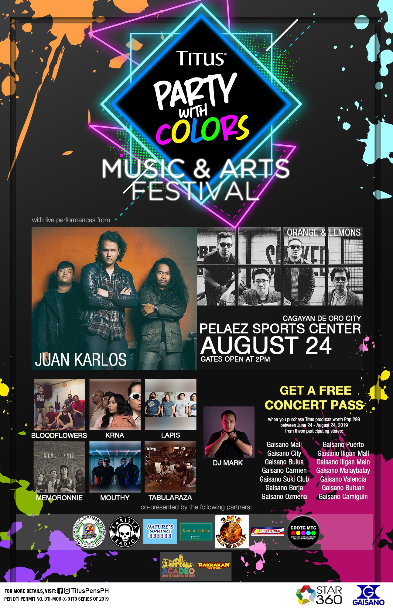 Titus Party With Colors – Music & Arts Festival | August 24, 2019